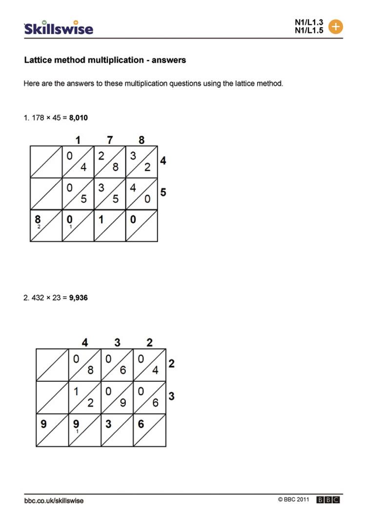 lattice multiplication worksheet – Free Lattice Multiplication Worksheets