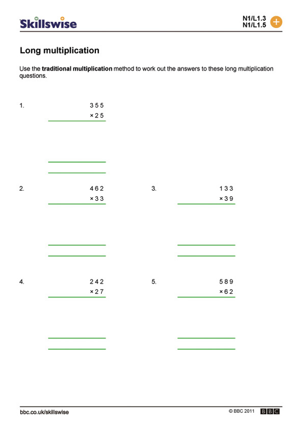 Long Multiplication Pen And Paper Methods Worksheet Preview
