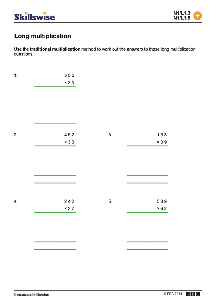 Long multiplication – Multiplication Worksheets Ks3