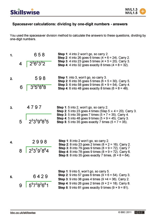 Spacesaver calculations: dividing by one-digit numbers