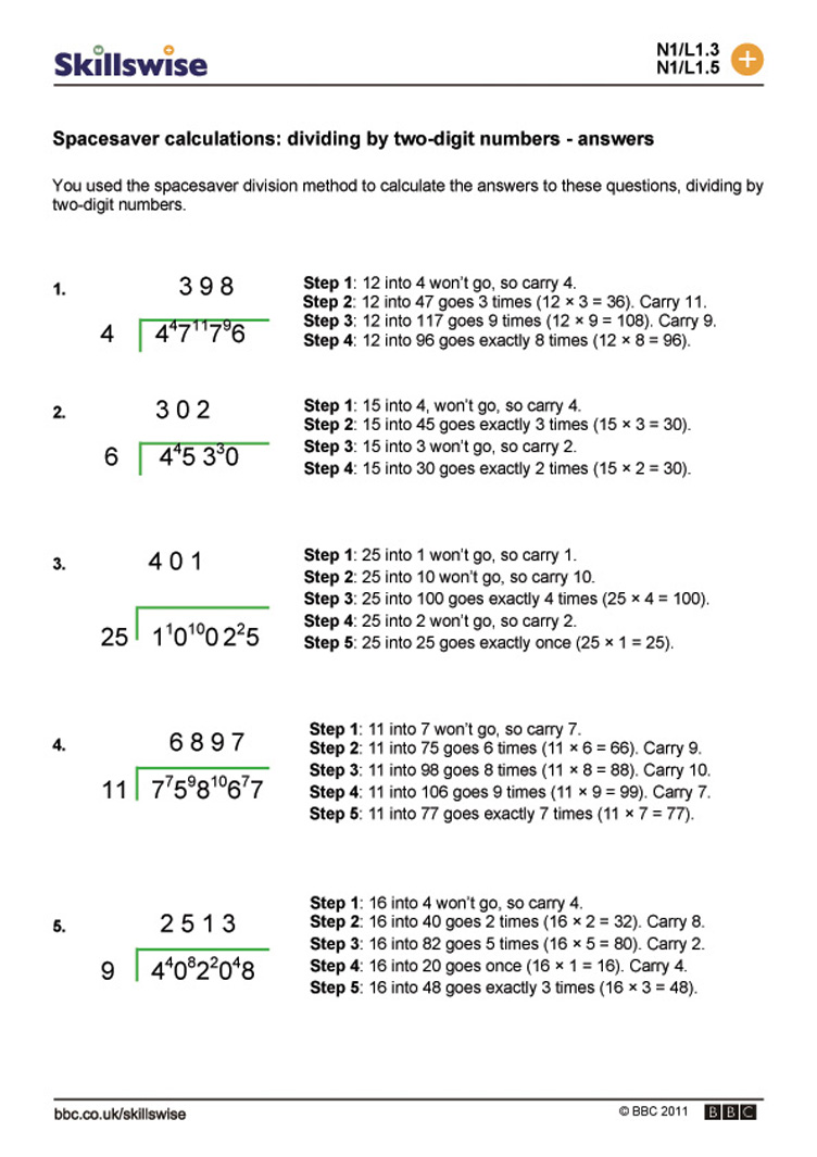 Worksheet Division By 2 Digit Numbers spacesaver calculations dividing by two digit numbers