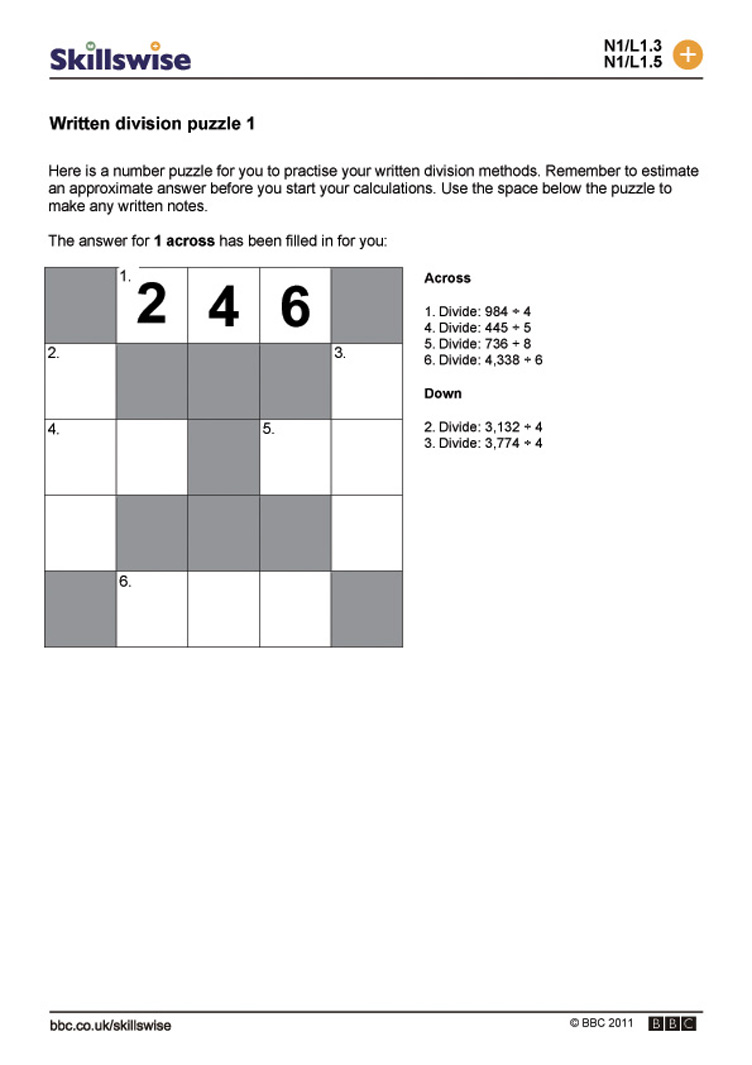 worksheet Short Division Worksheets written addition puzzle 1 division 1