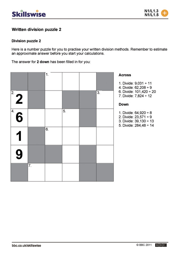 division homework year 2 – Division Worksheets Ks3