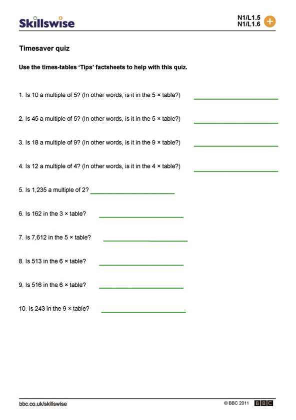 Timesaver quiz – Maths Quiz Worksheets