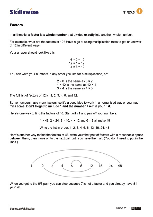 finding multiples worksheet – Factors Multiples Worksheet