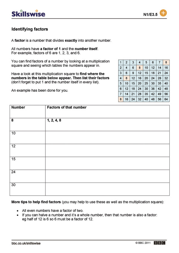 Factors homework sheet – Factor and Multiples Worksheets
