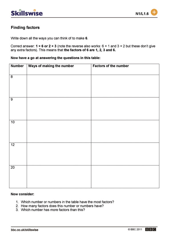 math worksheet : finding factors : Factors And Multiples Worksheets