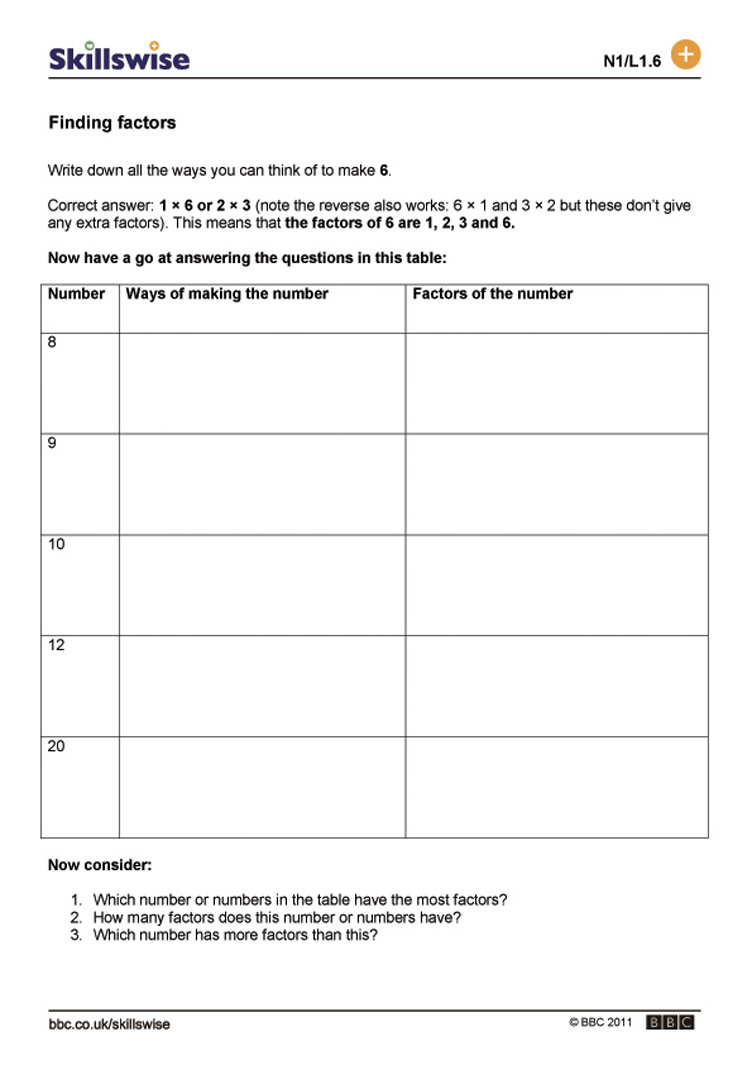 Worksheets Finding Factors Worksheet finding factors multiples and factors