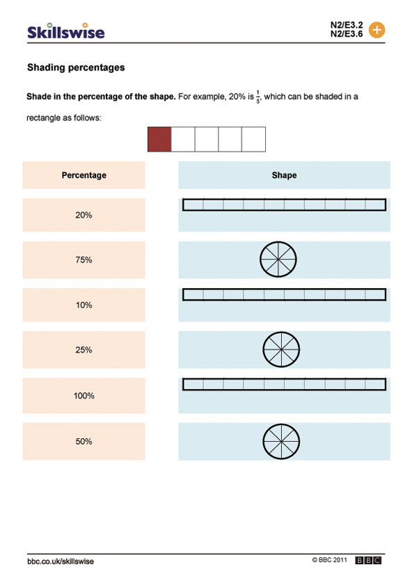 Percentages worksheet preview