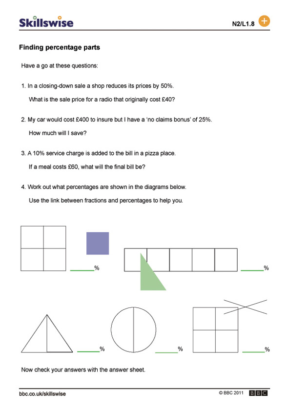 Fractions To Percent Small V1 Percentages Worksheet Grade ...