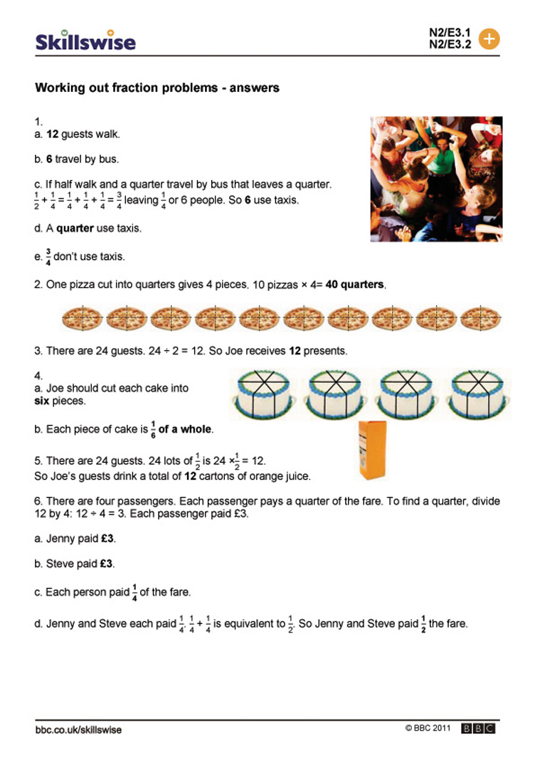 Worksheet Fractions Problems working out fraction problems