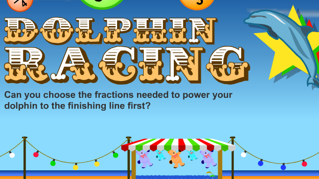 Click to play 'Fractions dolphin racing game'