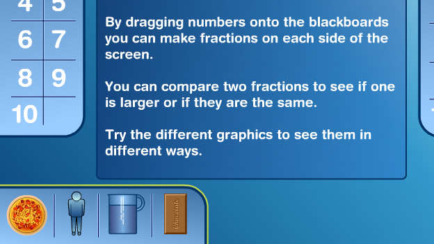 Click to play 'Fractions side by side game'