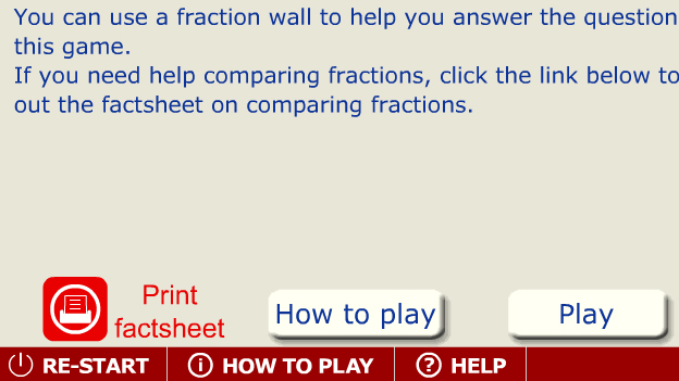 Click to play 'Ordering fractions game'