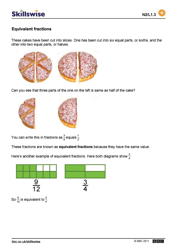 Equivalent fractions – Comparing Fractions Word Problems Worksheets