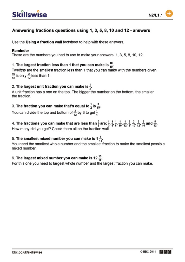 Answer fractions questions using 1 3 5 8 10 and 12 – Fraction Wall Worksheet