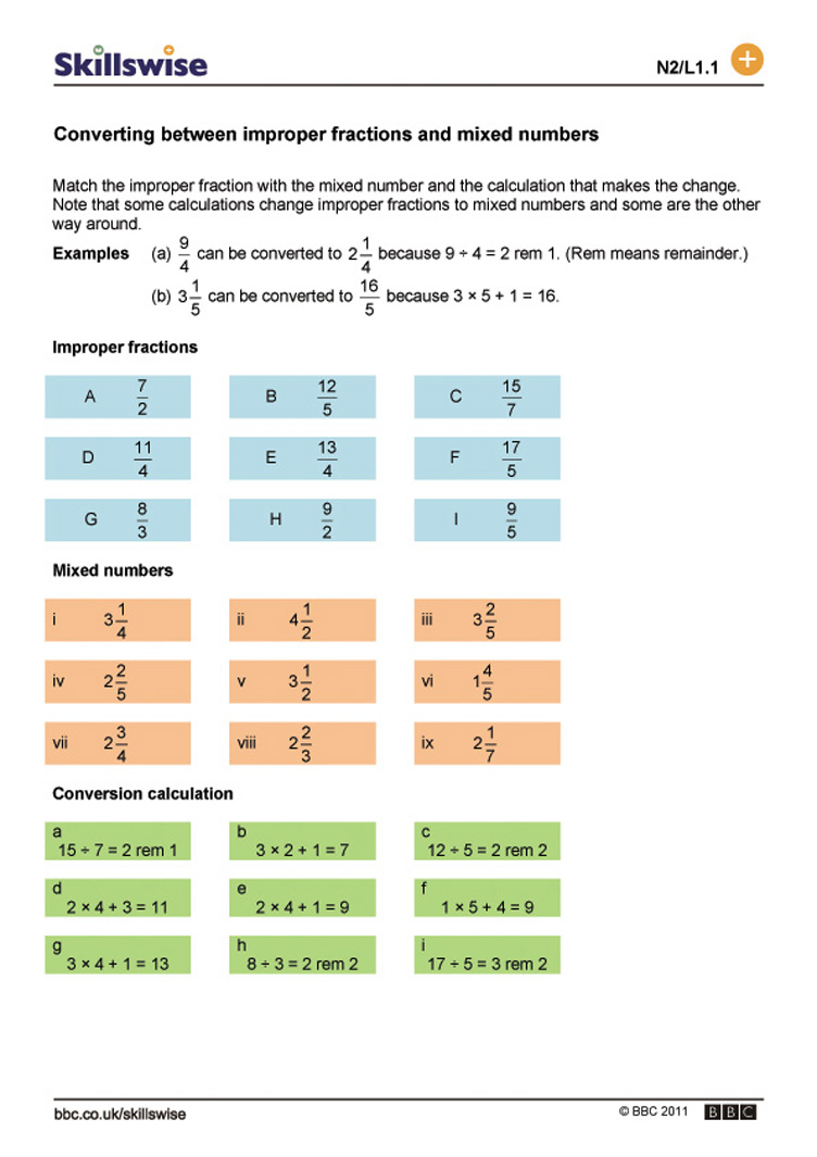 Converting between improper fractions and mixed numbers – Mixed Number and Improper Fraction Worksheets