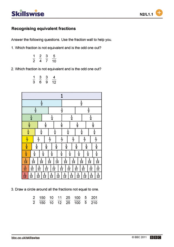 math worksheet : recognising equivalent fractions : Equal Fractions Worksheets