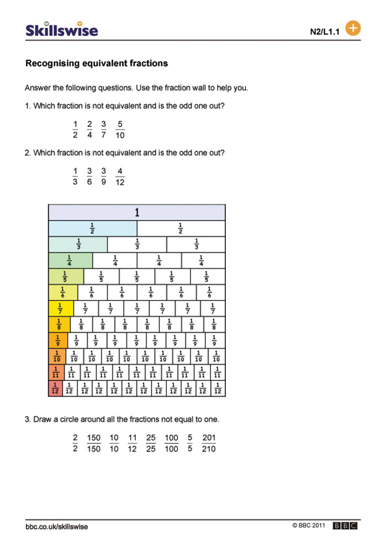 Recognising equivalent fractions – Worksheet for Equivalent Fractions
