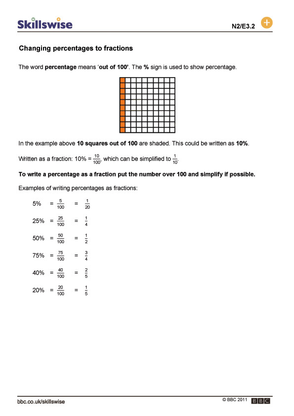 Changing Percentages To Fractions