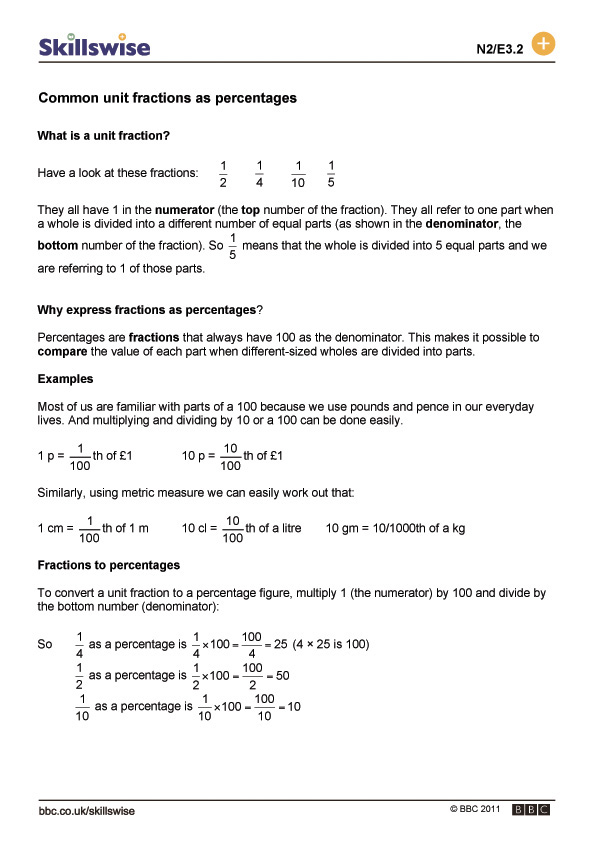 Worksheets Unit Fractions Worksheet common unit fractions as percentages