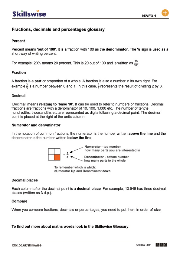 math worksheet : fractions decimals and percentages glossary : Comparing Fractions Decimals And Percents Worksheets