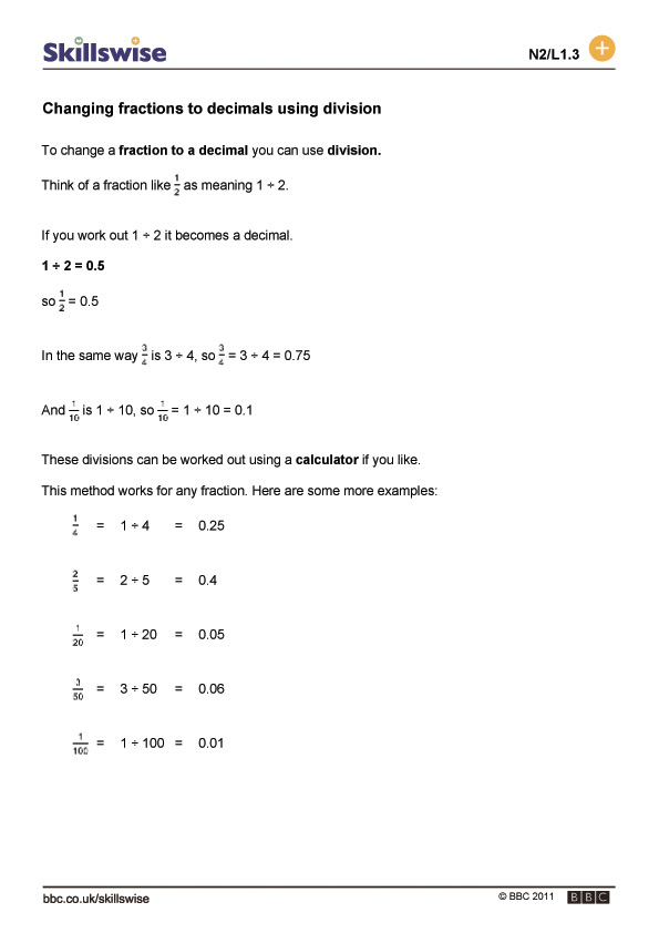 Changing Fractions To Decimals Using Division