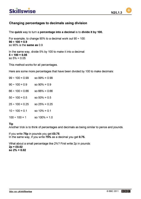 ma18compl1fchangingpercentagestodecimalsusingdivision560x792jpg – Fractions Percents and Decimals Worksheet