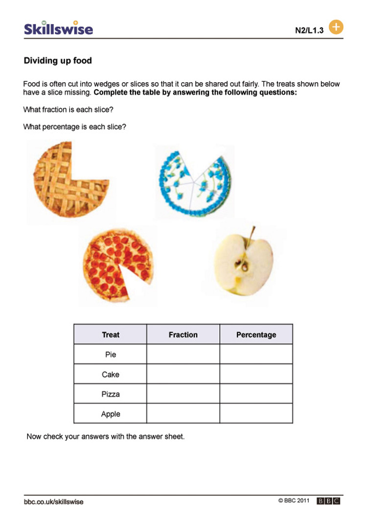 Dividing up food – Dividing Decimals by a Whole Number Worksheet