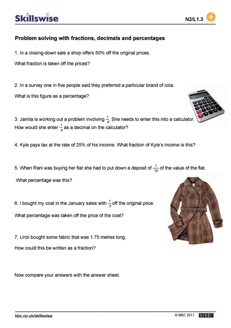 Worksheet Converting Math Problems problem solving with fractions decimals and percentages