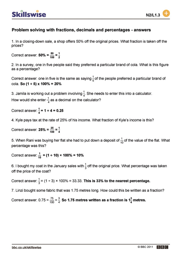 Problem solving with fractions decimals and percentages – Fraction Problems with Answers Worksheet