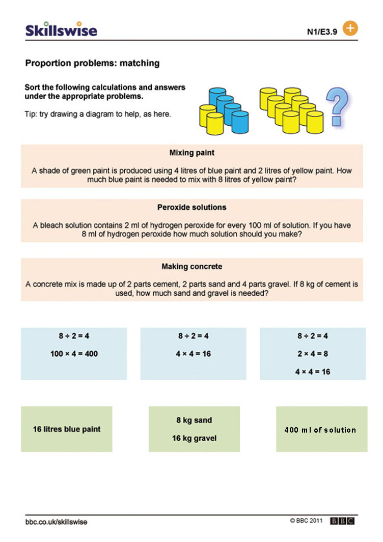 Proportion problems matching – Ratio and Proportion Worksheets with Answers