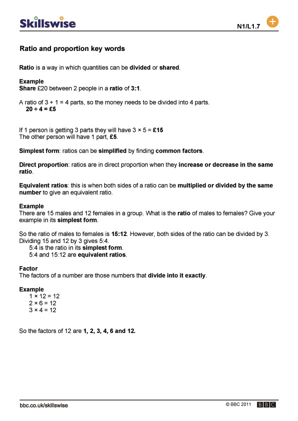 Printable Worksheets ratio and proportion worksheets ks2 : ma19rati-l1-f-key-words-for-ratio-and-proportion-560x792.jpg