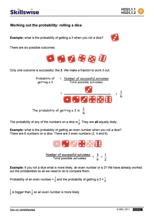 out the probability rolling a dice – Compound Probability Worksheet