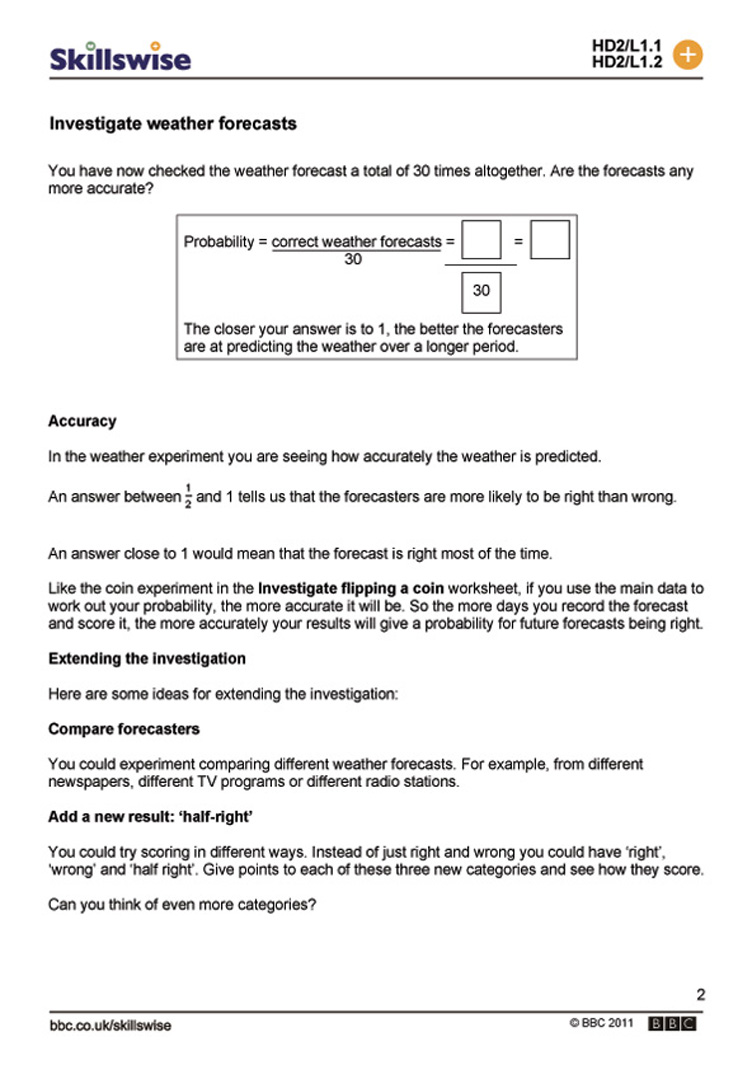 worksheet Experimental Probability Worksheets investigate weather forecasts probability