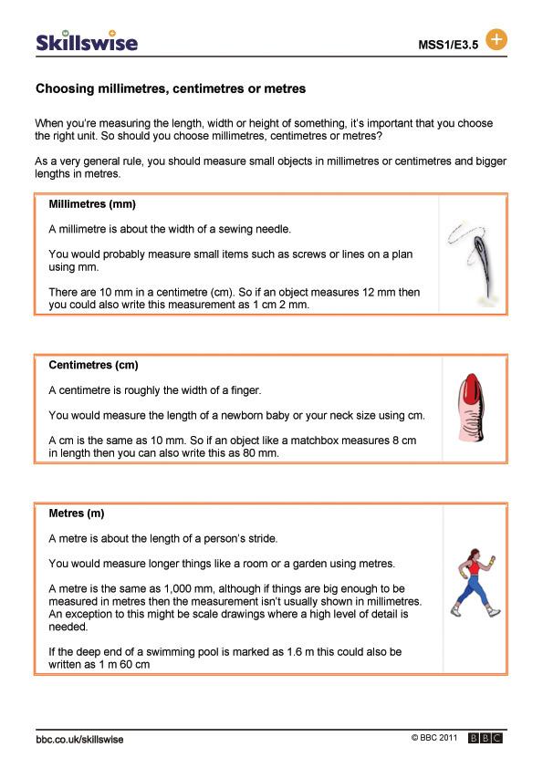 choosing millimetres centimetres or metres