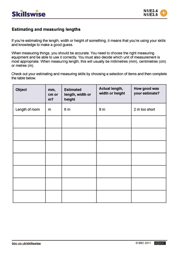 Length and distance worksheet preview