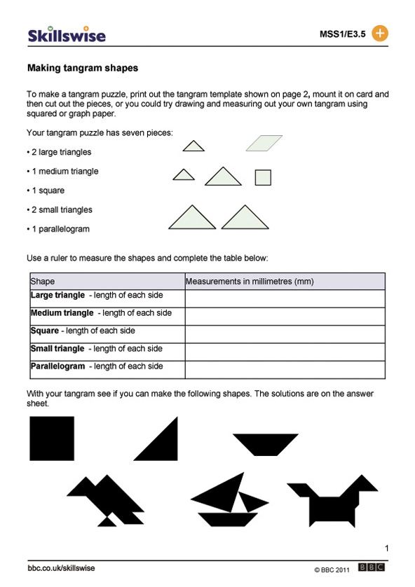 Making tangram shapes