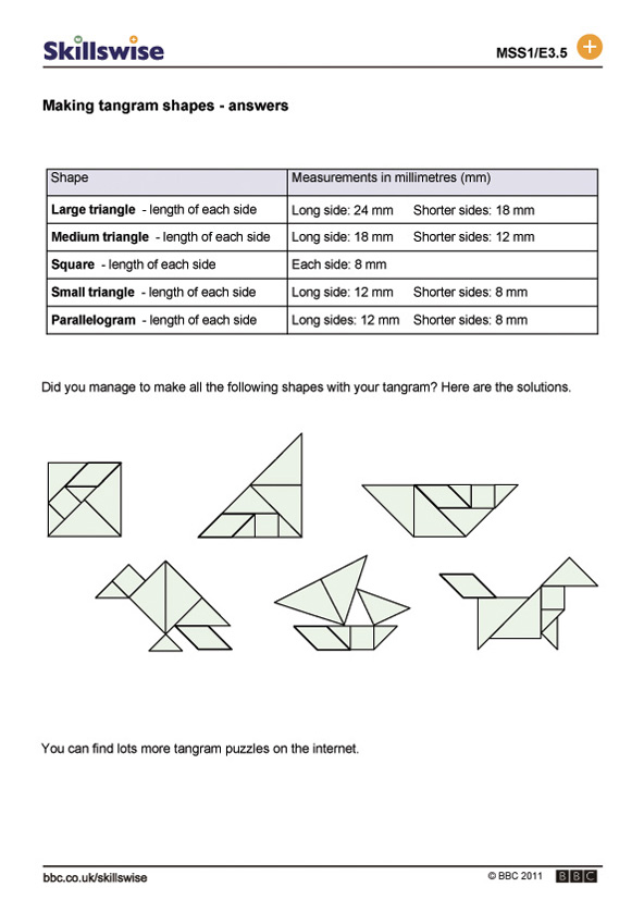 Making tangram shapes – Tangram Puzzles Worksheets