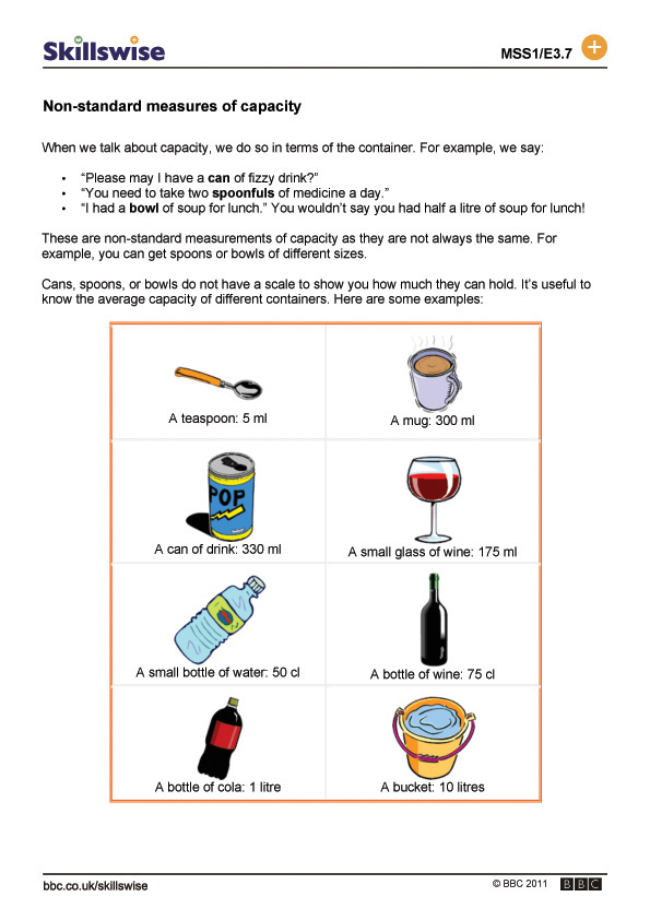 standard measures of capacity – Non Standard Measurement Worksheets