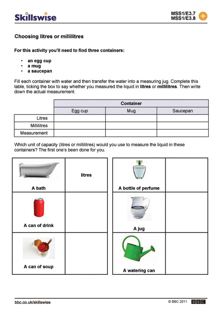Worksheet Measurement Capacity Worksheets choosing litres or millilitres capacity