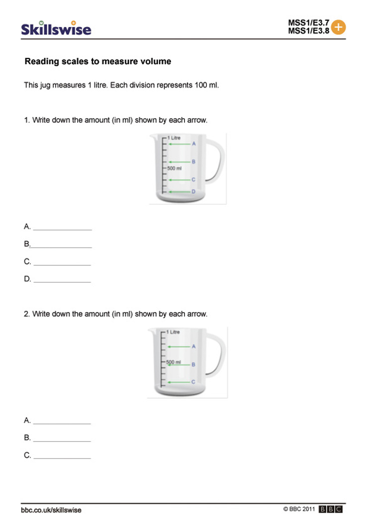Worksheet Measurement Capacity Worksheets reading scales to measure volume capacity
