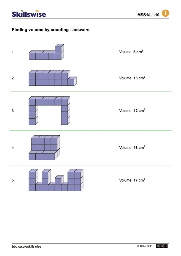 Worksheets Finding Volume Worksheets finding volume by counting capacity counting