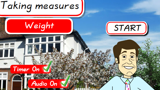 Click to play 'Taking measures weight game'