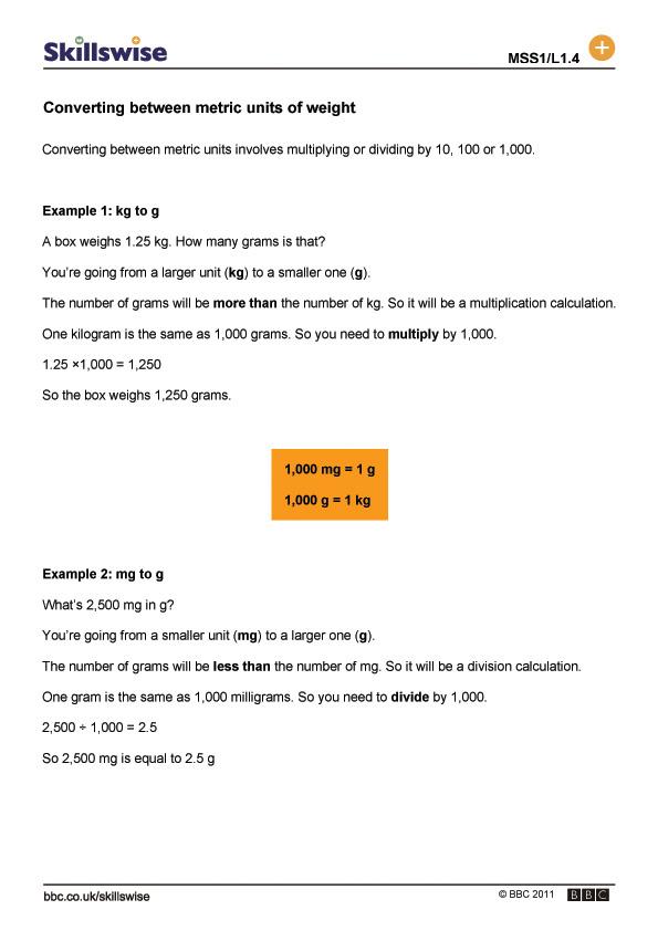 weight metric unit