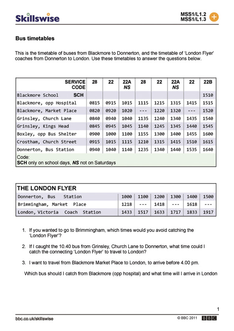 ma25time-l1-w-bus-timetables-  multiplication, grade worksheets, worksheets, and free worksheets Timetable Worksheets Ks2 1065 x 752