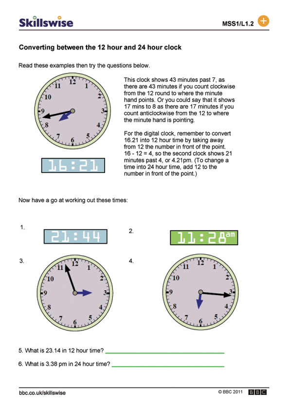 Converting Between The 12 Hour And 24 Hour Clock