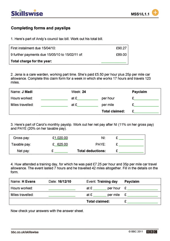 ma26monel1wformsandpayslips592x838jpg – Bbc Maths Worksheets
