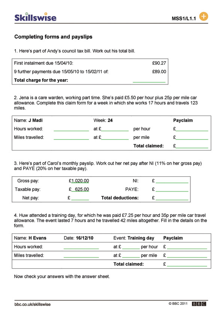Money. Completing Forms And Payslips  Payslip Doc