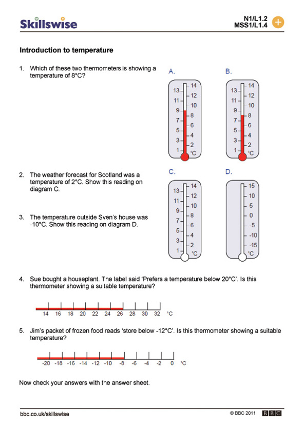ma27templ1wintroductiontotemperature – Temperature Worksheet